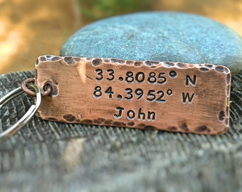 Latitude Longitude Keychain /  Personalized Gift / Coordinate Keychain /  Personalized Copper Key Ring / Boyfriend Gift / Engagement Gift