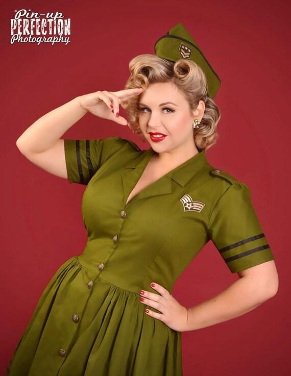Pinup Dress - Army Military Dress - Retro Dress ...