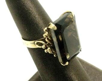 Vintage 14K Yellow Gold Smokey Quartz or Smokey Topaz Ladies Ring