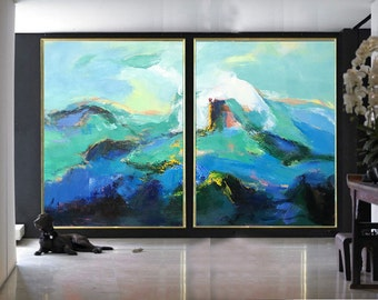 Set Of 2 Large Contemporary Painting, Abstract Canvas Art, Original Artwork by Leo, Hand paint. Blue, green, black, pink.