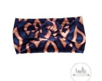 Blue Coral Tribal Aztec Turban / Knotted headband / Headwraps / Baby Newborn Kids Girls Women Adult / Navy Pink headbands Tribal