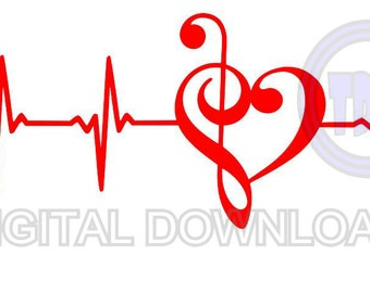 Musical Clef Heartbeat Digital Download SVG DXF EPS Silhouette Studio Cricut Design Space