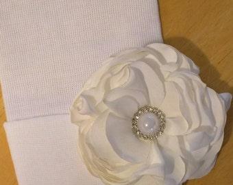 Solid White Newborn Hospital Hat w/ White Silk Flower w/ Rhinestones and Pearl on it! Hospital Beanie. aDOrABle!