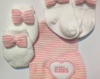 Exclusive Newborn Hospital Hat with Bow & Heart PERSONALIZED with Name! Socks and No Scratch Mittens w/Bows Included! 1st Keepsake!