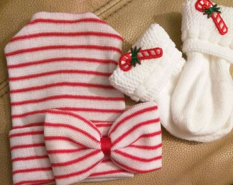 Red & White Newborn Hospital Hat with Candy Cane Socks! Choice of bow placement on hat!! Perfect Gift! Baby Beanie. Cute for CHRISTMAS Too!