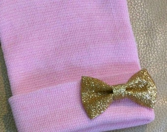 Pink Newborn Hospital Hat with Small Gold  Shimmer Bow. Baby Beanie. 1st Keepsake! Newborn Beanies. Great Going Home Hat