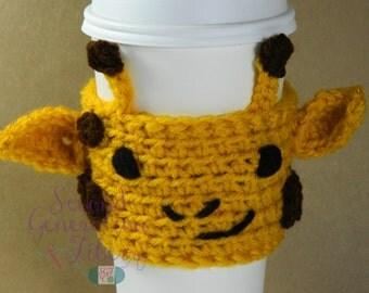 Giraffe coffee cozy, coffee cozy, giraffe tea cozy, tea cozy, giraffe gift, stocking stuffer, animal coffee cozy, coffee sleeve, tea sleeve