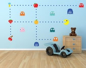 Pac Man Decals, Atari Wall Decals, Pac man Wall Murals Boys Room , Video Game Wall Stickers, Pac-Man
