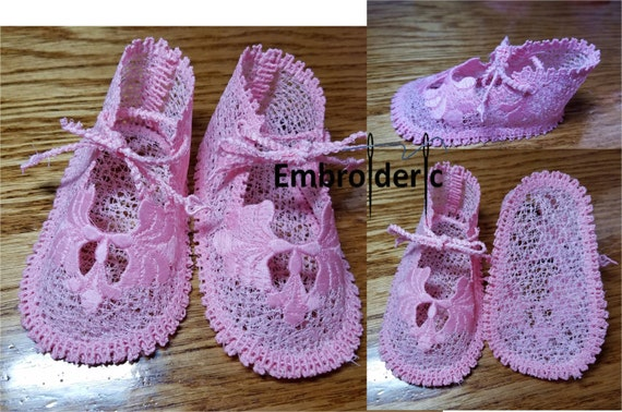 Ith 5x7 In The Hoop Baby Shoes Shells Ornamental 0 6month