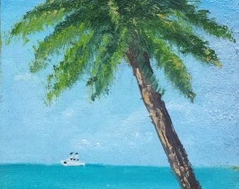 Original ACEO landscape oil painting PALM TREE 2.5 x 3.5""