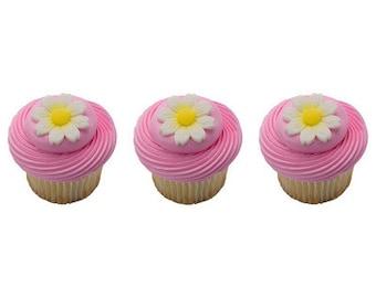 Edible Sugar Daisies- Daisy Cupcake Toppers- Edible Small Daisy Flowers- 12 Pieces