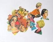 Retro women die cuts: pack of 30 colourful embellishments hand cut from books Ephemera craft pack for scrapbooks, smash books, collage PE278