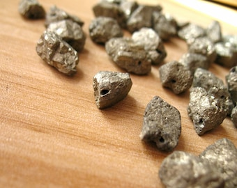 Natural Pyrite Bead Rough Raw Fools Gold Spacer Bead Drilled Healing Crystal Beads Wholesale A180-7