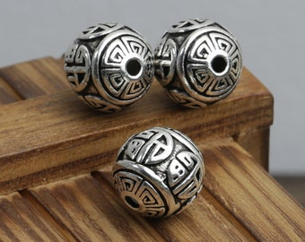 Round 925 silver spacer bead thai sterling silver ball beads 12mm antique silver hollow beads necklace bracelet diy wholesale Y149