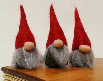 Norwegian Christmas Gnomes, Tomte, Nis, Nisse, Scandinavian Christmas Decorations, Needle Felted Miniature Gnomes **Set of 3** MADE TO ORDER