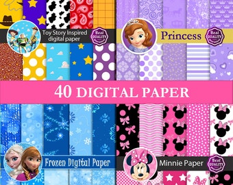 """Digital papers Frozen, Sofia, Minnie, ToyStory  SALE  """"Frozen, Princess, Minnie, Patterns"""" Inspired by Disney's movies * Instant Download"""