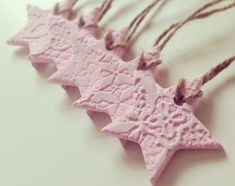 Mini Lace Stars, Clay Stars, Clay Tags, 5 Pack