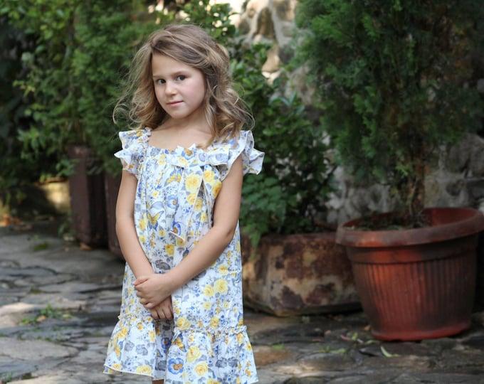 Girl dress, Lemon, Blue toddler dress, girl clothes, kids clothes , Yellow floral girl's dress, Sun Dress, Girls Summer Dress, Baby outfit