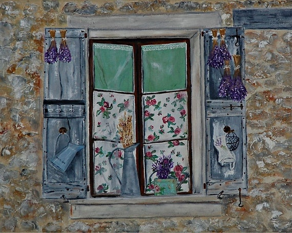 Window giclee print shutters french country for French country window shutters