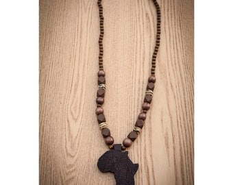Brown Africa on Bone and Wood Beads