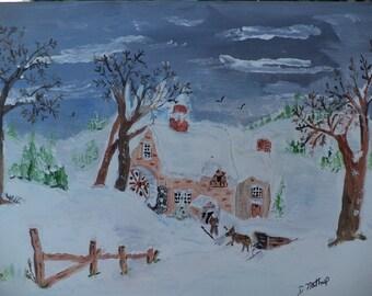 Cozy Winter Inn Acrylic On Canvas