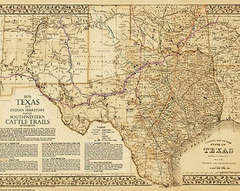 The Great Texas Cattle Trails Map 2nd Ed 20w X By