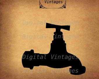 Water Faucet Spiggot Hose SIlhouette illustration Vintage Digital Image Graphic Download Printable Clip Art Prints 300dpi svg jpg png