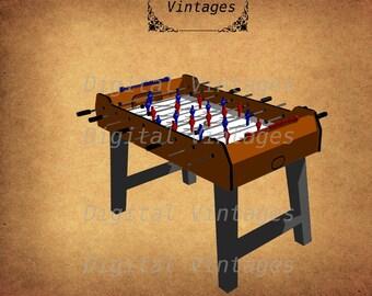 Foosball Table Color Game Clip Art  Detailed illustration Digital Image Graphic Download Printable Clip Art Prints 300dpi svg jpg png