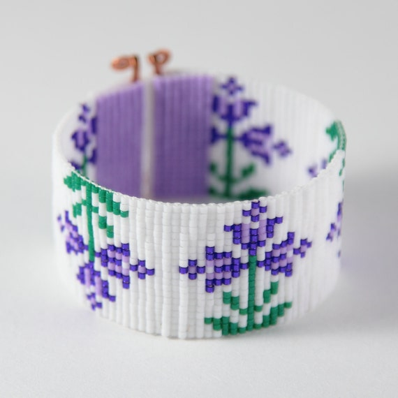 Items Similar To Purple Spring Flowers Bead Loom Bracelet