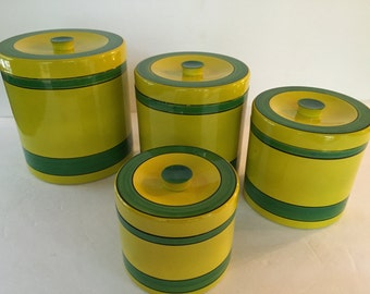 Vintage Set of 4 Melamine Stacking Nesting Yellow and Green Striped Canisters