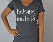 Hakuna Matata. No Worries. Women's Clothing Workout Clothing. Gym Shirts. V neck T Shirts. Yoga Shirts. Yoga Tops. Running Clothing.