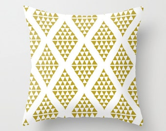 Olive Green Pillow Cover, Triangle Pillow Cover, Triangle Decor, Olive Decor, c Throw Pillow, Green Decor, Triangle Home Decor