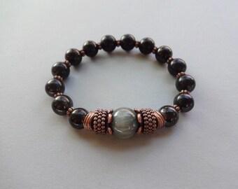 Shungite Chrysoberyl sheen bead copper protection stretch bracelet - shungite jewelry