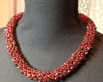 Red Necklace, Red Garnet Necklace, Red Choker, massive red choker