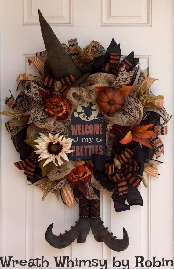 Halloween Burlap Mesh Rustic Witch Wreath With Primitive