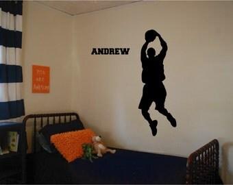 Basketball Player Wall Decal with Custom Name