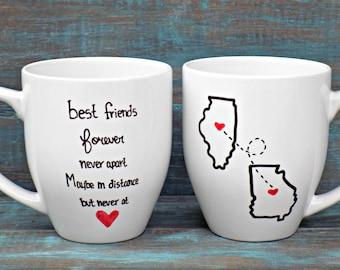 Best Friends Mug-Double Sided, State Mug, Long Distance Mug, Going Away Gift, Miss You Mug, Coffee Mug, Large Mug