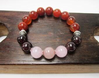 Fertility Bracelet, Carnelian Garnet Rose Quartz Peach Moonstone Fertility Bracelet Infertility Bracelet IVF Bracelet Pregnancy Bracelet