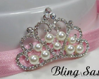Baby Headband Crown with Rhinestones and Pearls fits Newborn to 9 months