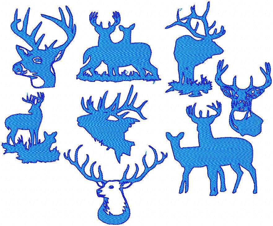 Machine embroidery design deer various by blingsasssparkle