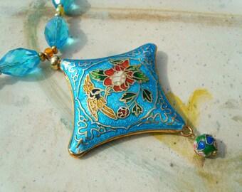 Cloisonne enamel pendant glass beads necklace