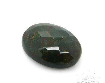 31.85Cts. Natural Bloodstone Cabochon, Size 27x20x8mm, Checkerboard Cut, Untreated, Oval Shape Cabochon, Smooth Polished