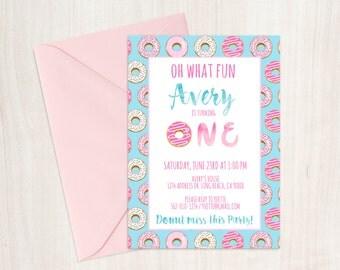 Donut First Birthday Party Invitation, Donut Birthday Invitation