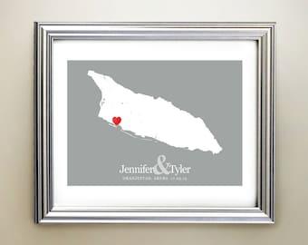 Aruba Custom Horizontal Heart Map Art - Personalized names, wedding gift, engagement, anniversary date