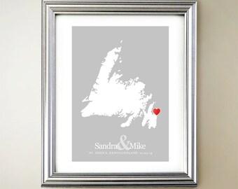 Newfoundland Custom Vertical Heart Map Art - Personalized names, wedding gift, engagement, anniversary date