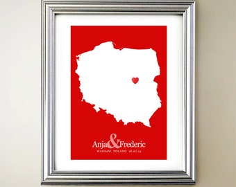 Poland Custom Vertical Heart Map Art - Personalized names, wedding gift, engagement, anniversary date