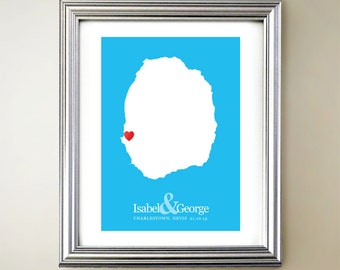 Nevis Custom Vertical Heart Map Art - Personalized names, wedding gift, engagement, anniversary date