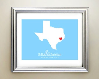 Texas Custom Horizontal Heart Map Art - Personalized names, wedding gift, engagement, anniversary date