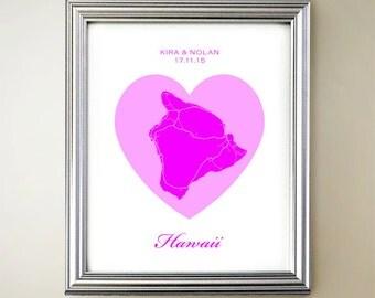 Hawaii Island Heart Map