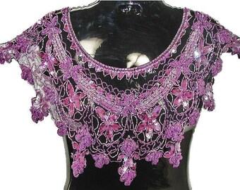 Sequin Beaded Scarf Shawl Wrap PURPLE Evening Wear